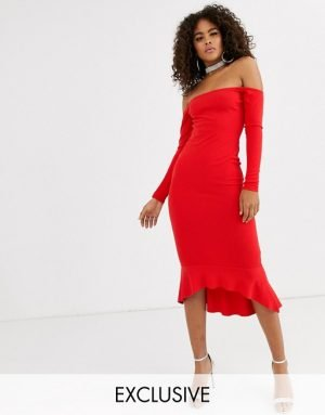 Missguided Tall bardot fishtail midi dress in red