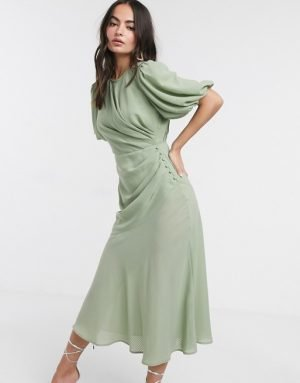 ASOS DESIGN ruched maxi dress with puff sleeve in self check in sage green